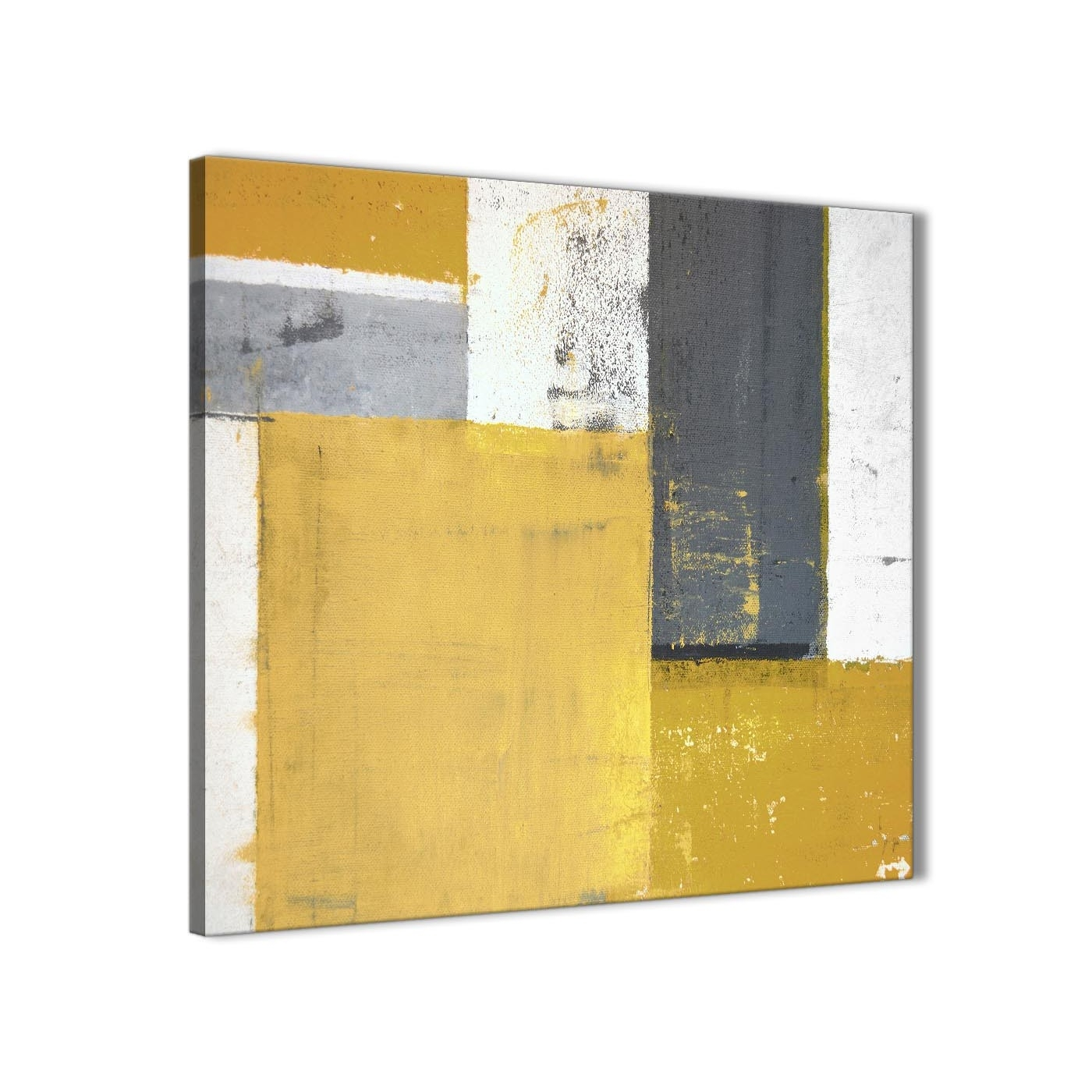 Mustard Yellow Grey Abstract Painting Canvas Wall Art Print Regarding Recent Yellow And Grey Abstract Wall Art (View 8 of 20)