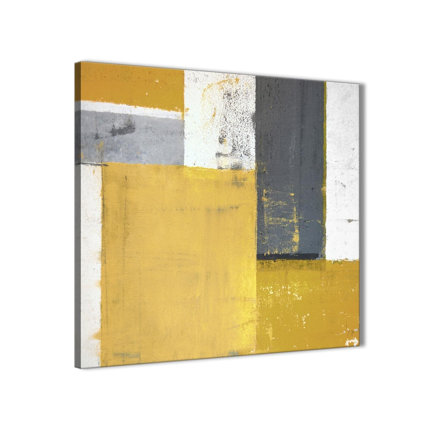 Mustard Yellow Grey Abstract Painting Canvas Wall Art Print With Recent Grey Abstract Canvas Wall Art (View 9 of 20)
