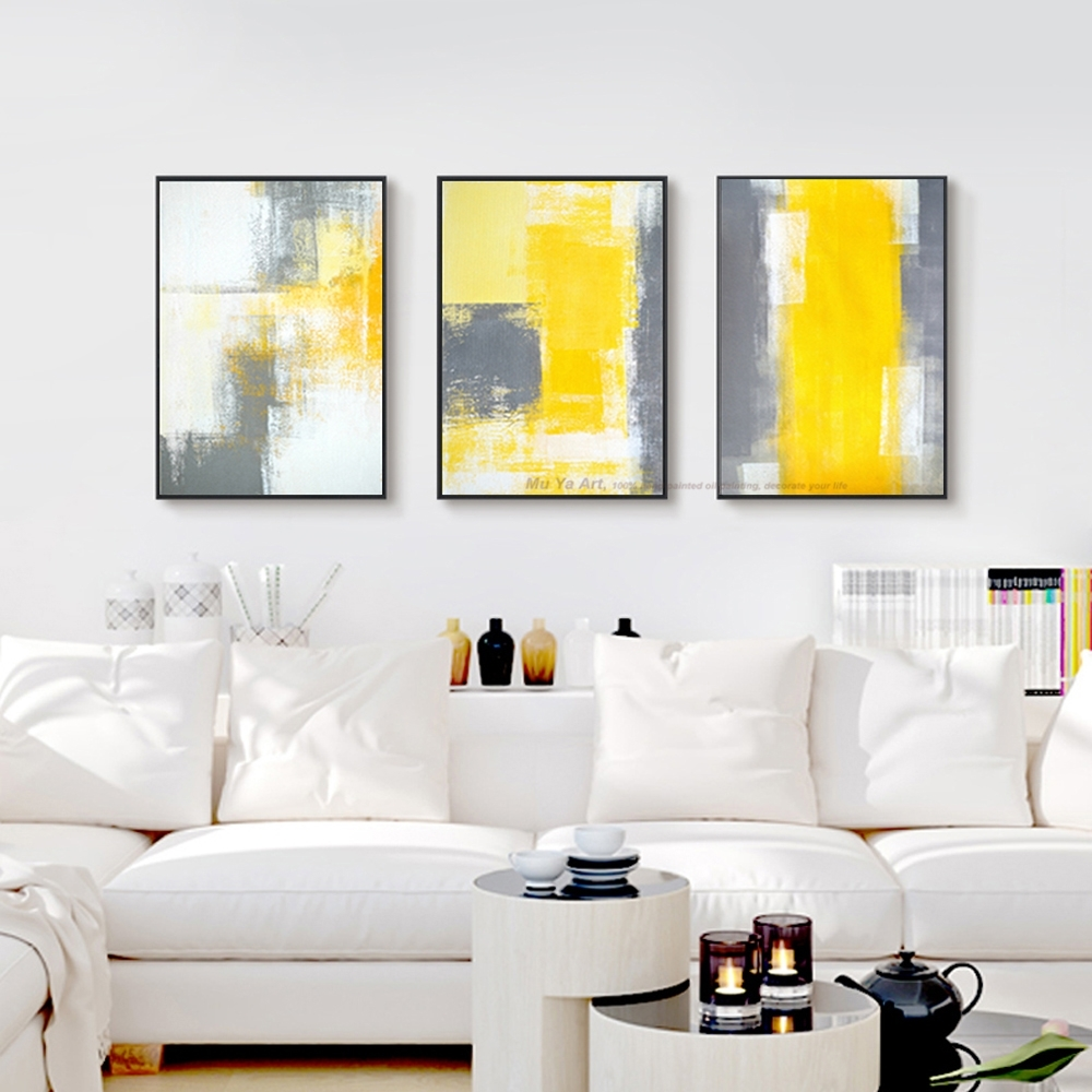 Muya 3 Piece Canvas Painting Abstract Oil Painting Handmade Bright Pertaining To 2018 Yellow And Grey Abstract Wall Art (View 10 of 20)
