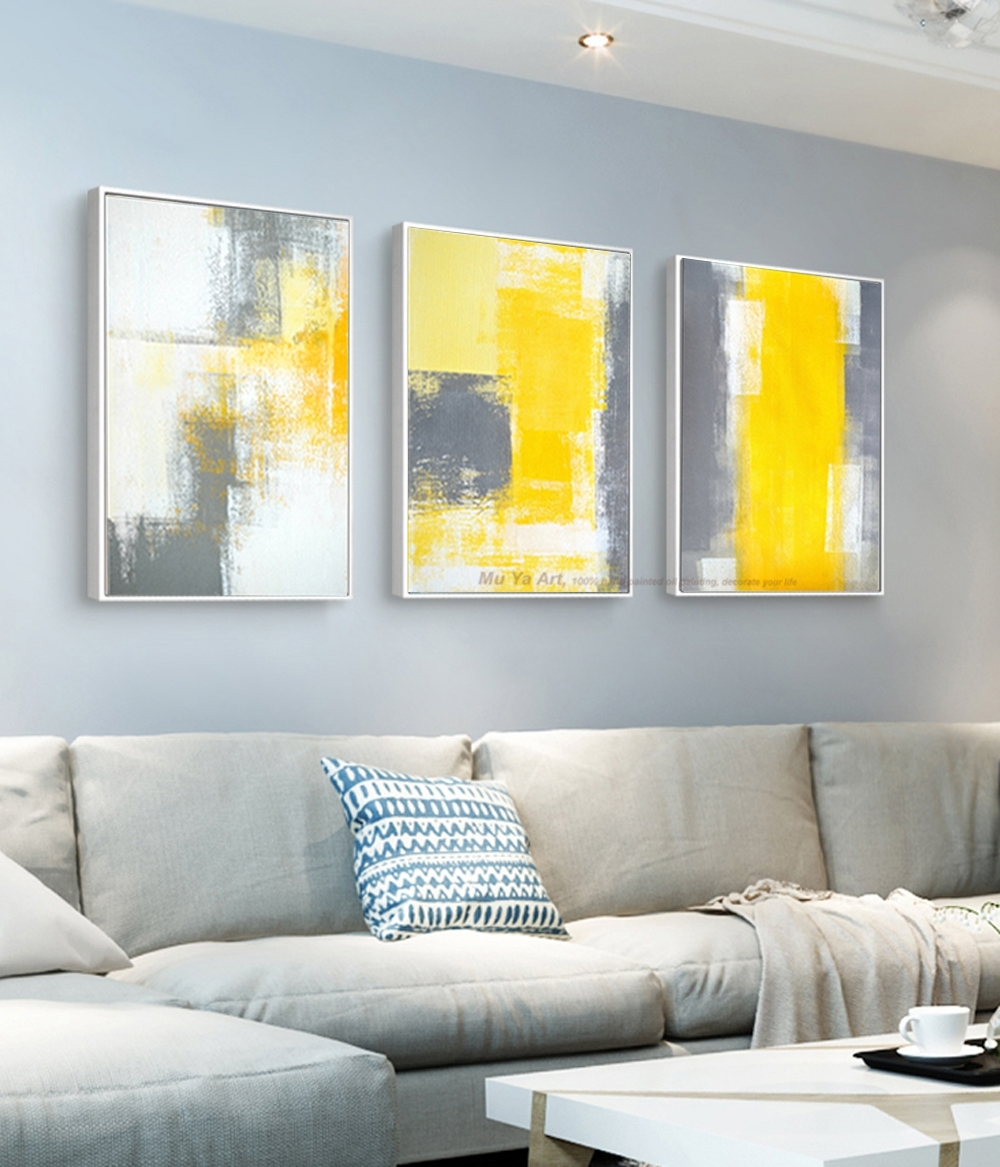 Muya 3 Piece Canvas Painting Abstract Oil Painting Handmade Bright With Regard To 2018 Yellow And Grey Abstract Wall Art (View 17 of 20)