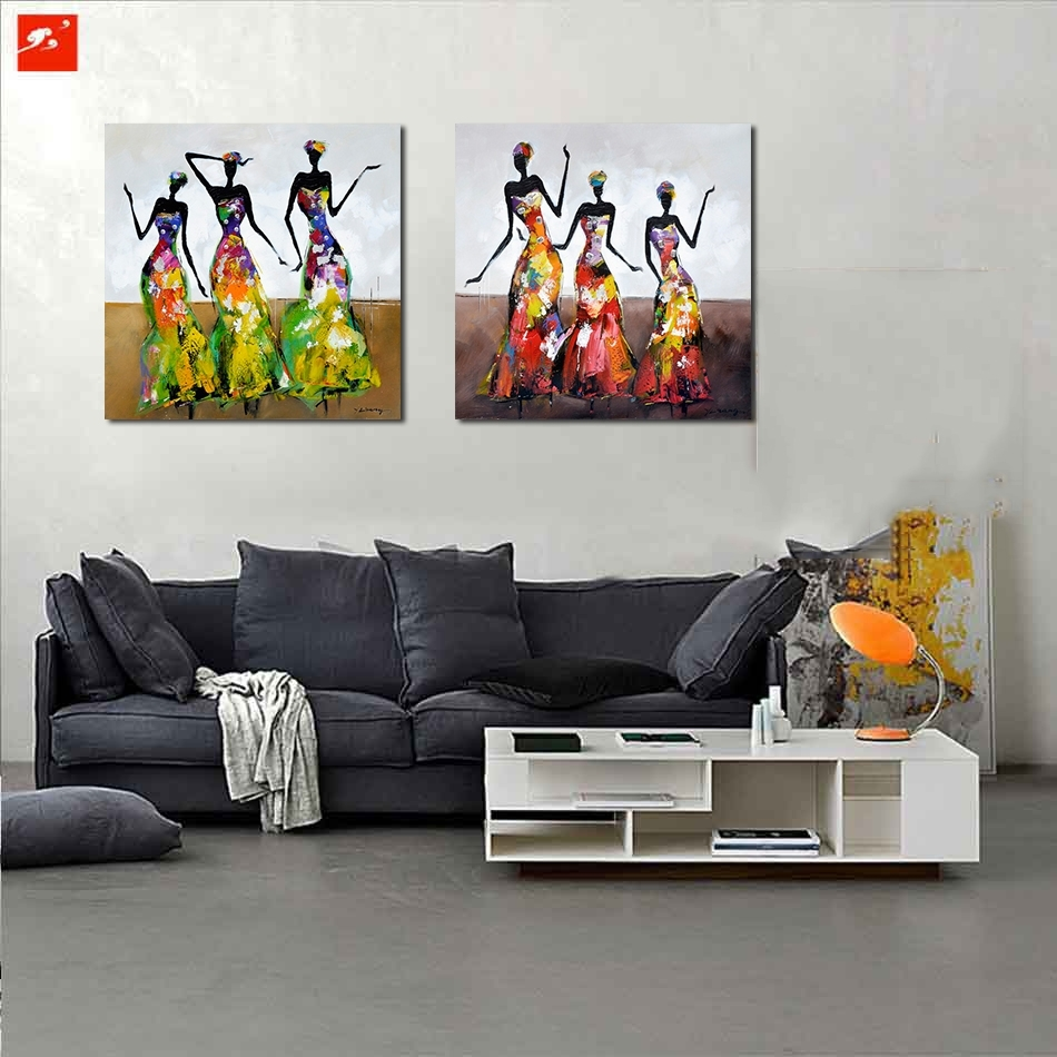 New 2 Pieces Street Wall Art Abstract Modern Dancing African Women inside 2018 Abstract African Wall Art