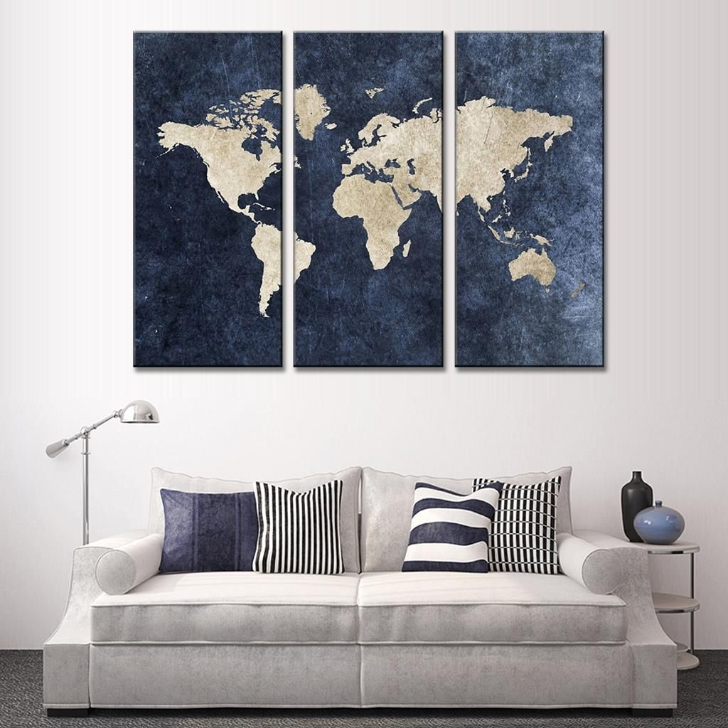 New 3 Pcs/set Abstract Navy Blue World Map Canvas Painting Modern regarding Most Up-to-Date Geometric Modern Metal Abstract Wall Art