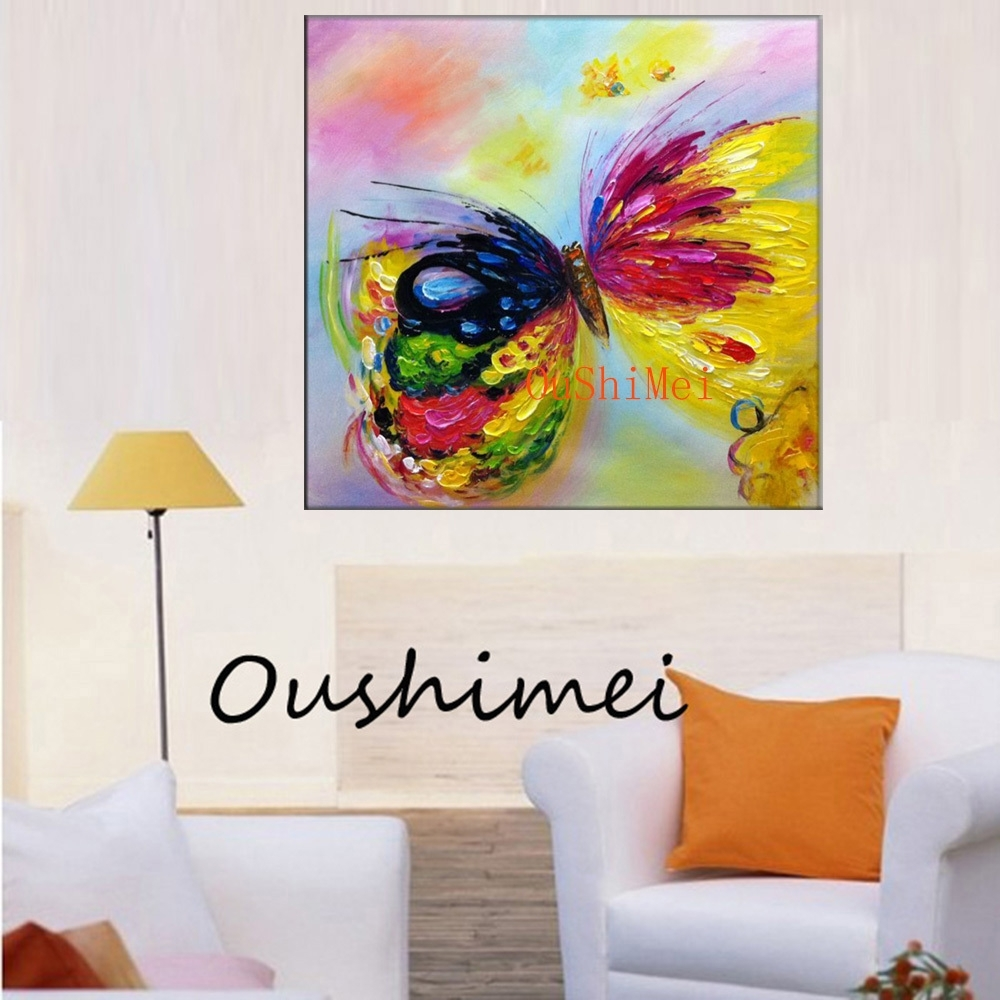 New Arrive Handmade Canvas Oil Painting Modern Knife Butterfly With 2017 Abstract Butterfly Wall Art (Gallery 15 of 20)