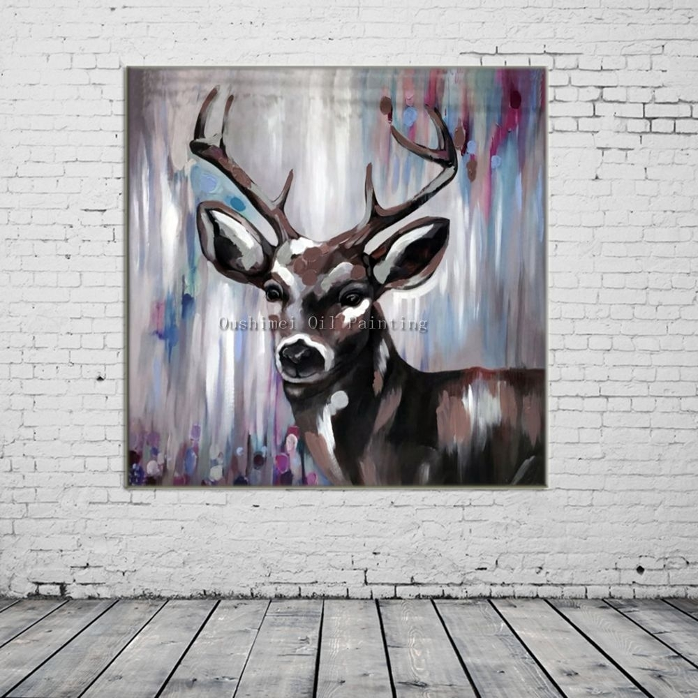 New Hand Painted Knife Animals Deer Oil Painting Hang Paintings pertaining to 2017 Abstract Deer Wall Art