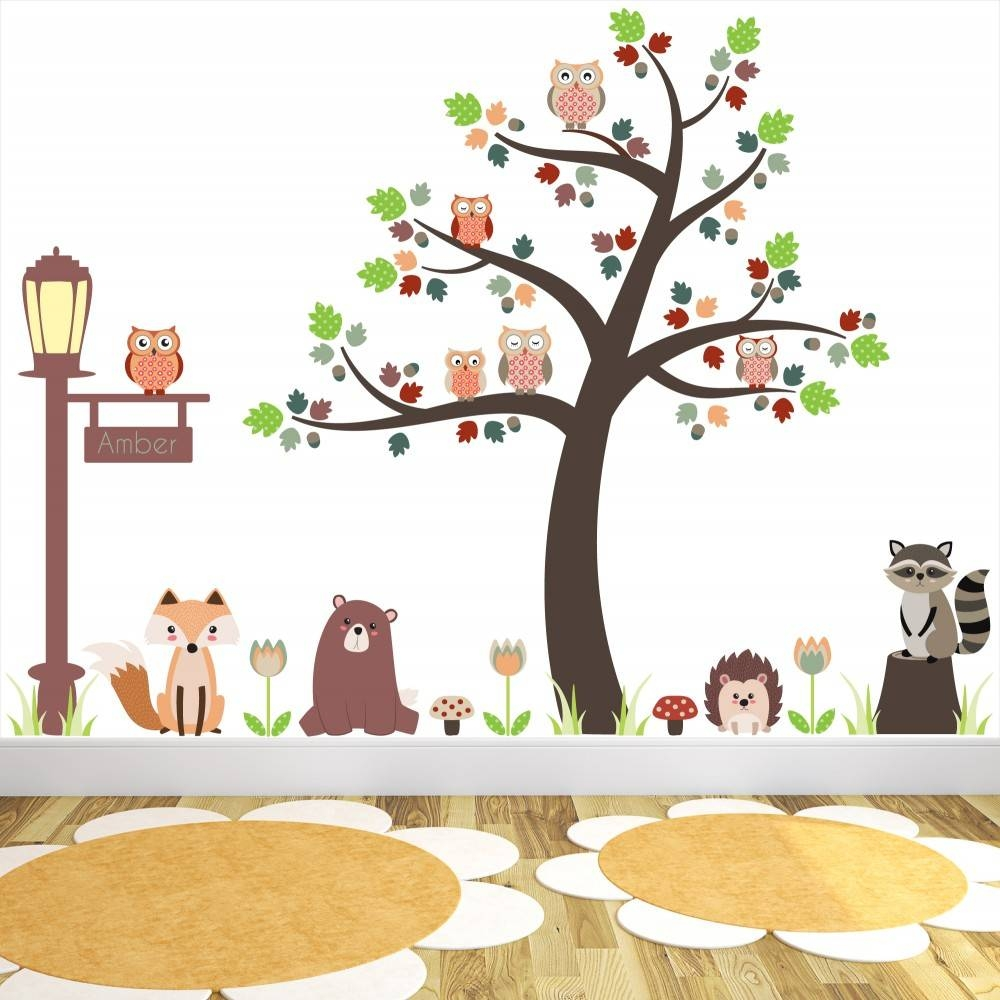 New Large Woodland Animal Nursery Wall Stickers Featuring Owls And With Regard To Most Popular Woodland Animal Wall Art (Gallery 11 of 20)