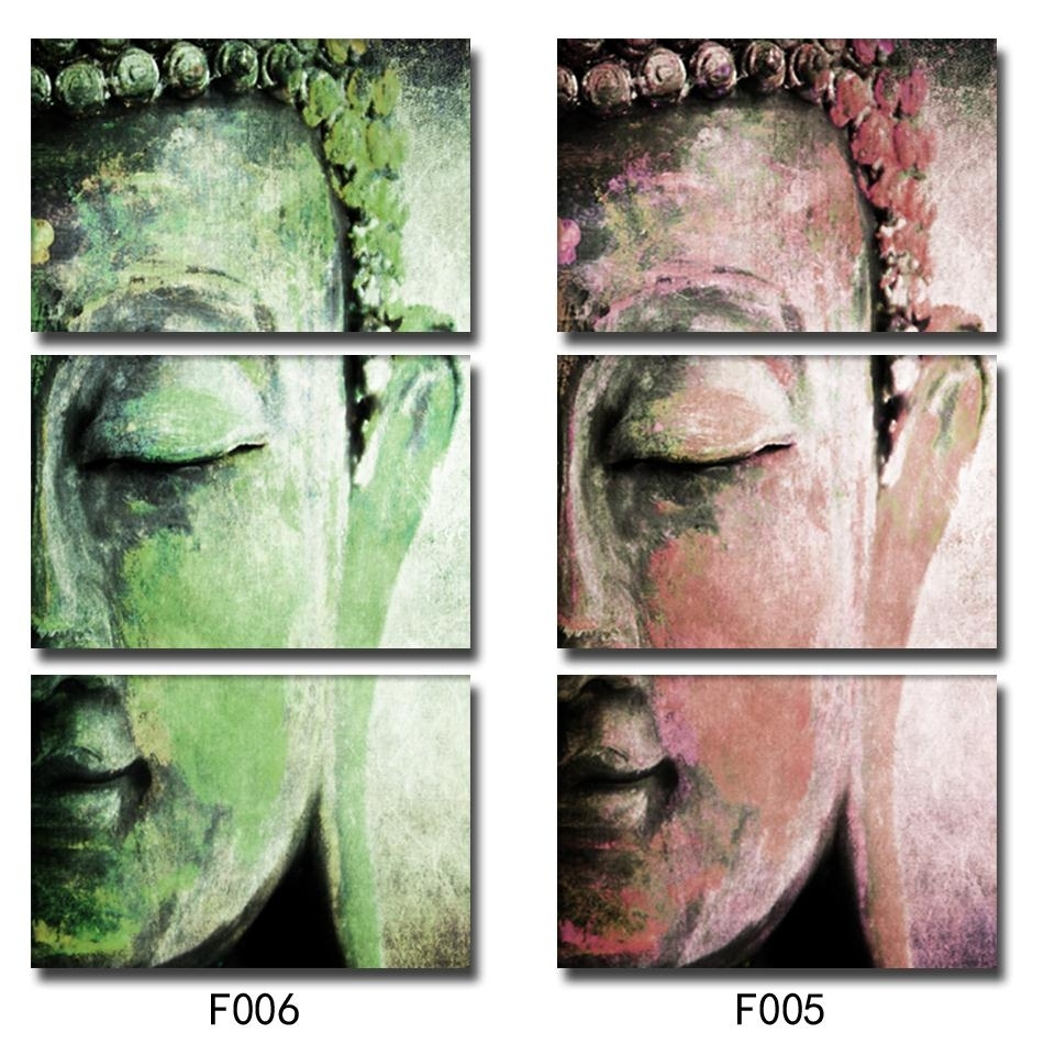 No Frame 3Pcs Abstract Buddha Wall Art Paintings Home Decor For Inside Current Abstract Buddha Wall Art (View 15 of 20)