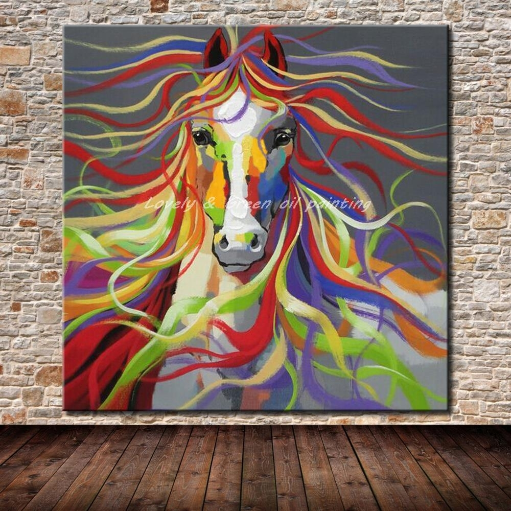 No Frame Hand Painted Modern Wall Art Pictures Living Room Home For Most Recent Abstract Horse Wall Art (View 14 of 20)