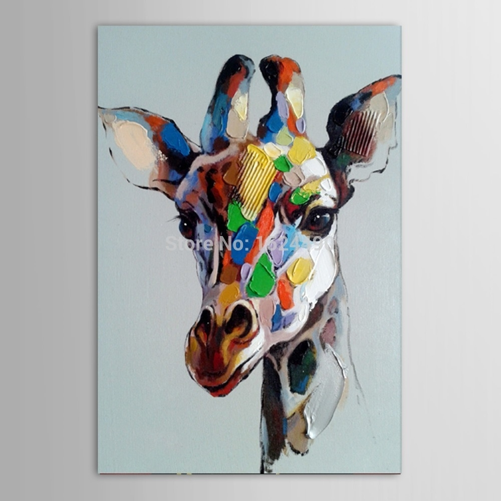No Frame Hot Hand Painted Abstract Animals Oil Painting On Canvas With Regard To Latest Abstract Deer Wall Art (Gallery 3 of 20)