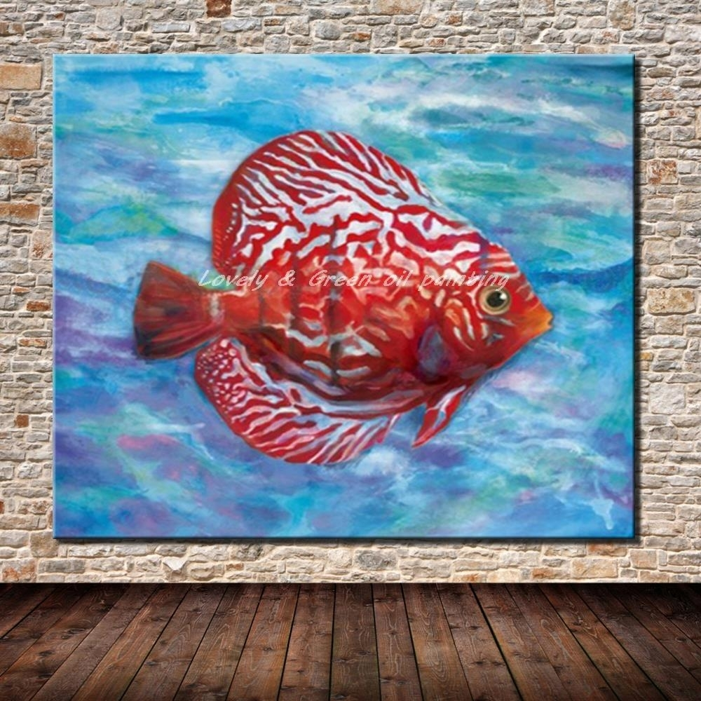 No Framed Picture 100% Hand Painted Modern Abstract Fish Oil Inside Most Current Abstract Fish Wall Art (View 8 of 20)