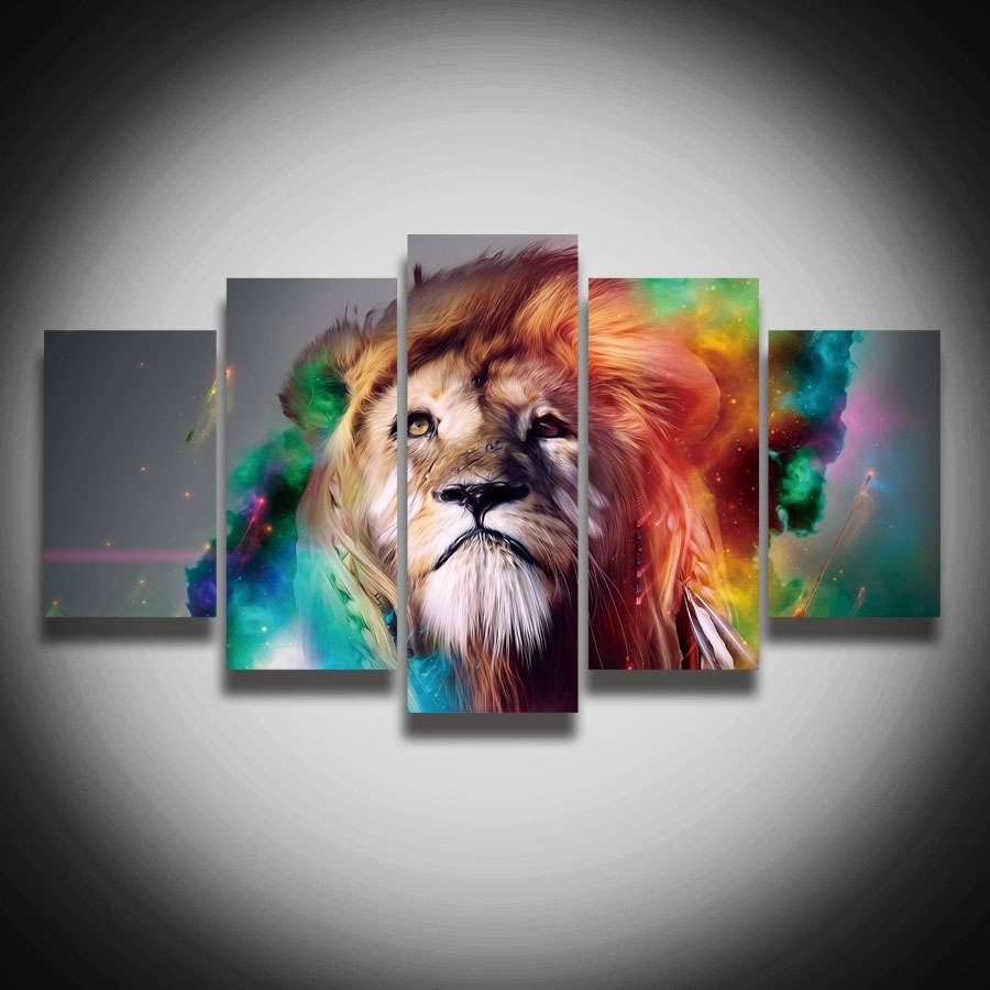 No Framed Printed Colourful Lion Animal Canvas Painting 5 Panels Inside Best And Newest Abstract Lion Wall Art (View 2 of 20)