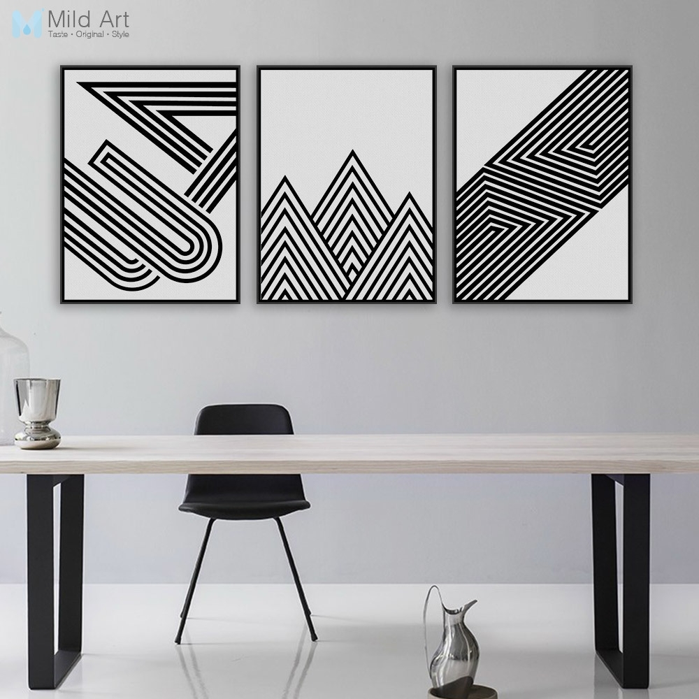 Nordic Black White Minimalist Geometric Shape Art Prints Poster inside Current Aluminum Abstract Wall Art
