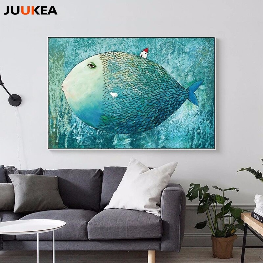 Nordic Canvas Painting Abstract Fish Wall Art Painting Canvas Intended For 2018 Abstract Fish Wall Art (Gallery 10 of 20)