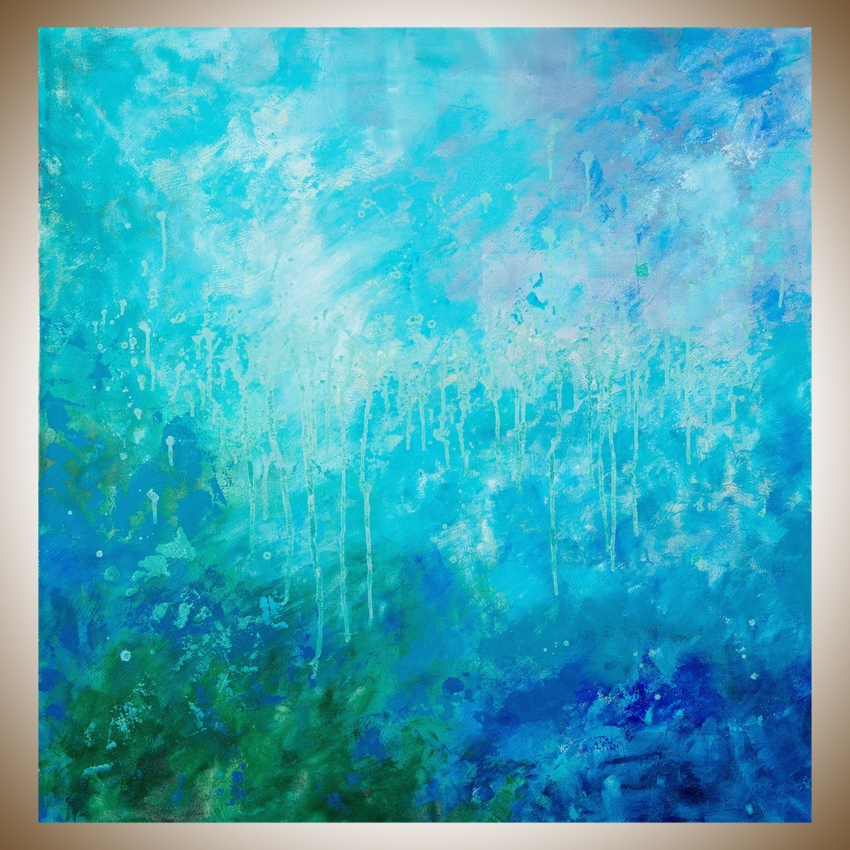 "November Showerqiqigallery 40""x40"" Un Stretched Canvas With Most Recent Blue Green Abstract Wall Art (Gallery 4 of 20)"