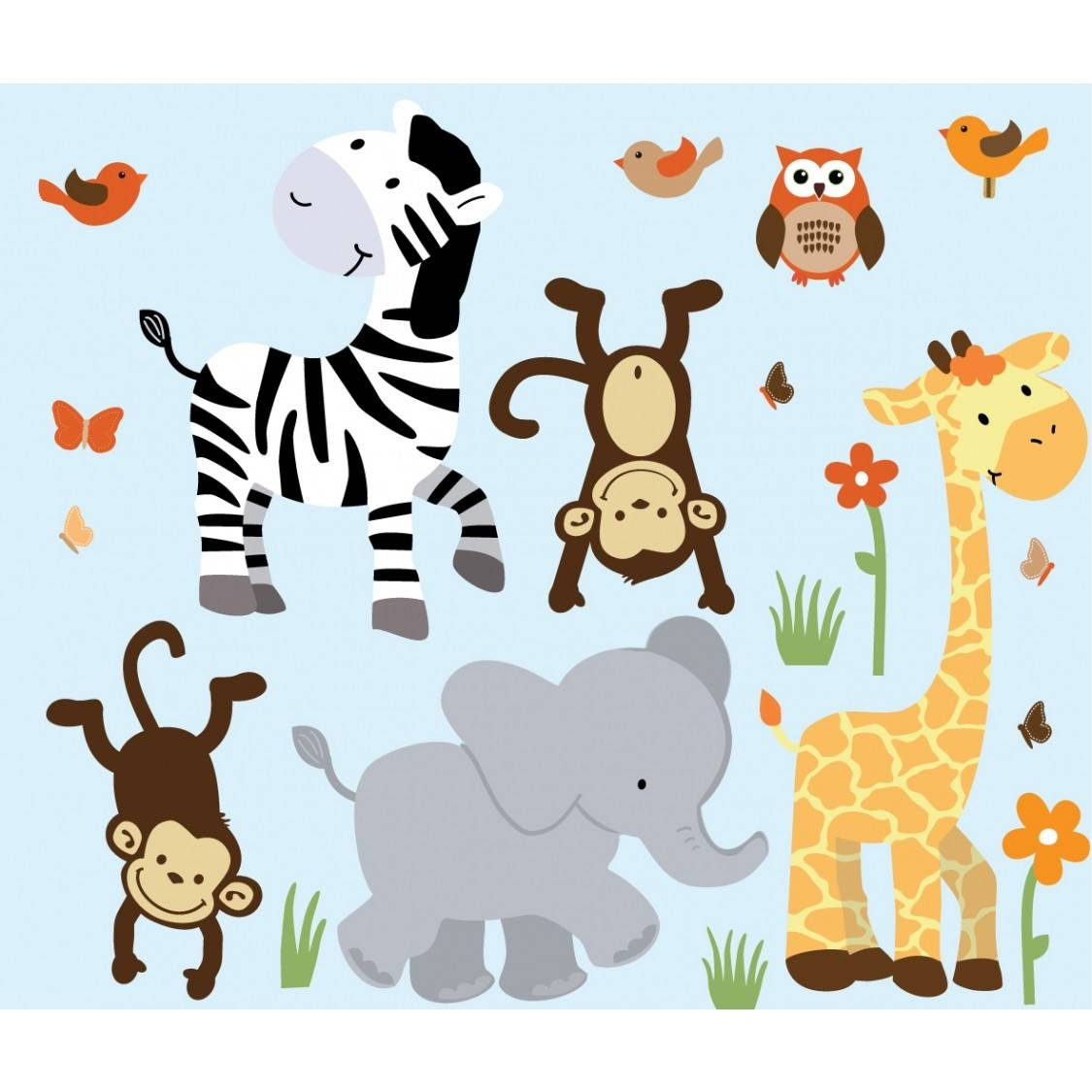 Nursery Jungle Wall Decals With Zebra Wall Decals For Boys Rooms With Latest Safari animal Wall Art (View 2 of 20)