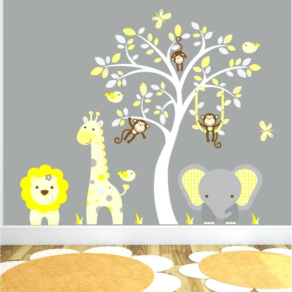 Nursery Wall Art Decals Baby Room Wall Art Giraffe Nursery intended for Most Recently Released Animal Wall Art For Nursery