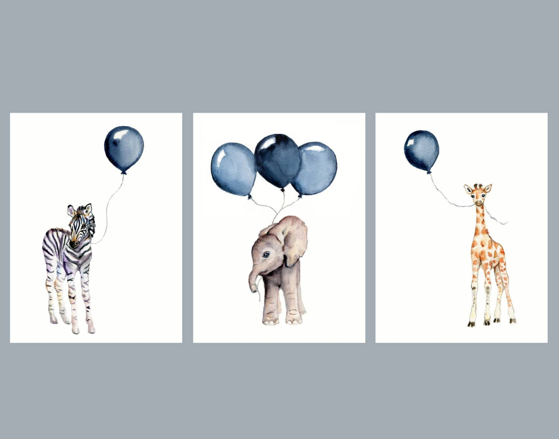 Nursery Wall Art Set Of Three Navy Nursery Decor Baby Animal throughout Most Recent Animal Wall ArtFor Nursery