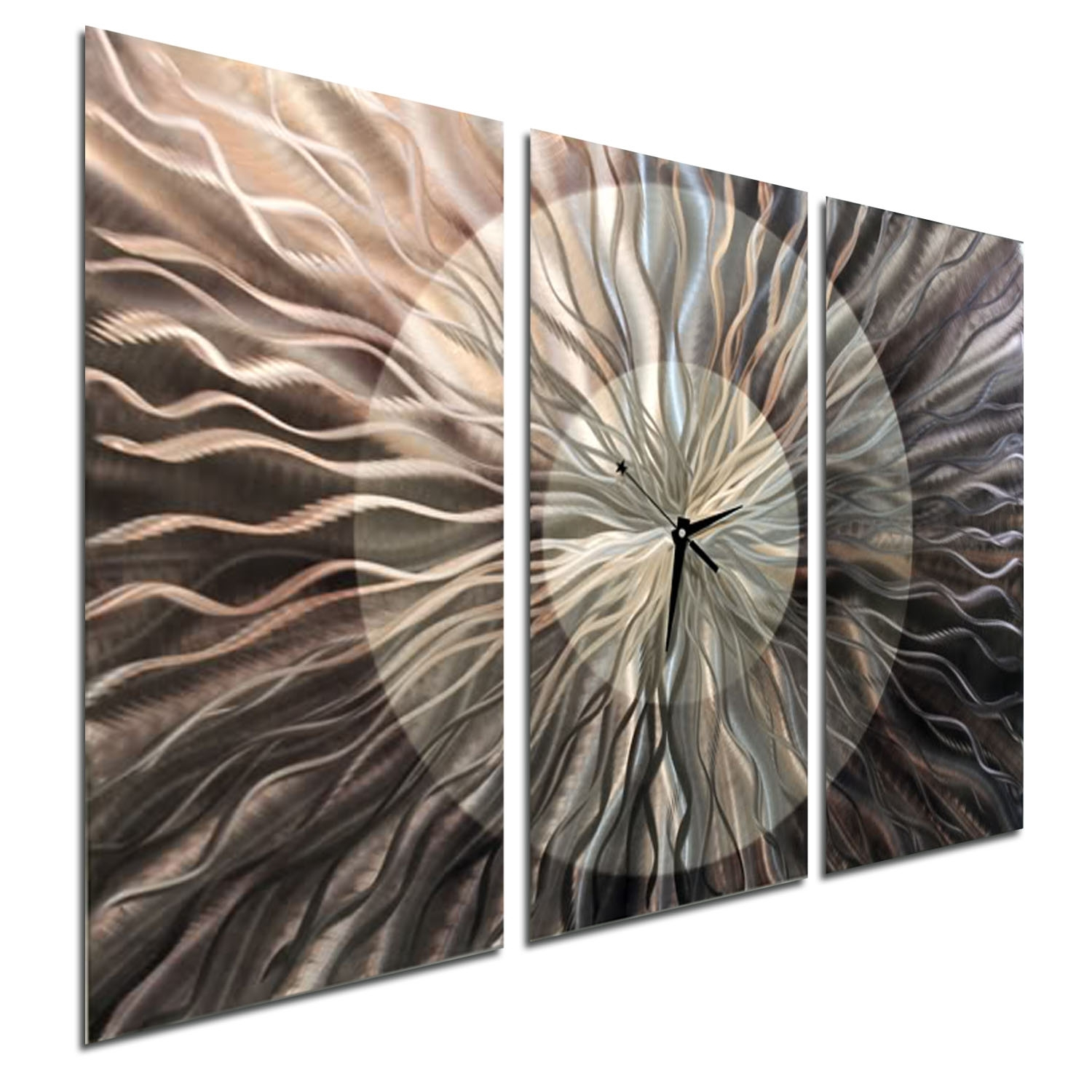 Obsidian Burst Clock – Electric & Unique Silver Metal Wall Clock For Current Abstract Metal Wall Art With Clock (View 18 of 20)