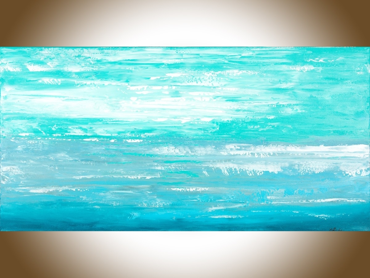 "Ocean Cloudqiqigallery 48"" X 24"" Abstract Painting Original Pertaining To Current Abstract Ocean Wall Art (View 5 of 20)"