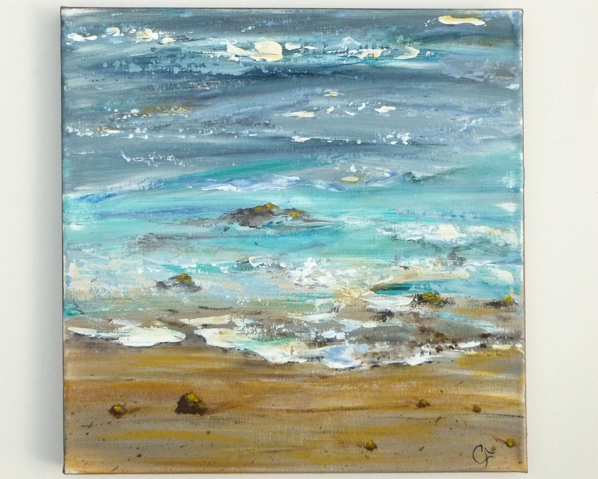 Ocean Painting, Textured Abstract Beach Modern Art, Square 12X12 in Most Current Abstract Ocean Wall Art