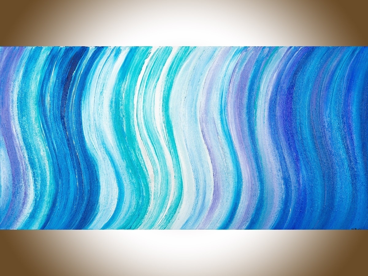 "Ocean Wavesqiqigallery 48""x24"" Original Modern Abstract Wall Pertaining To Most Recently Released Abstract Ocean Wall Art (View 15 of 20)"