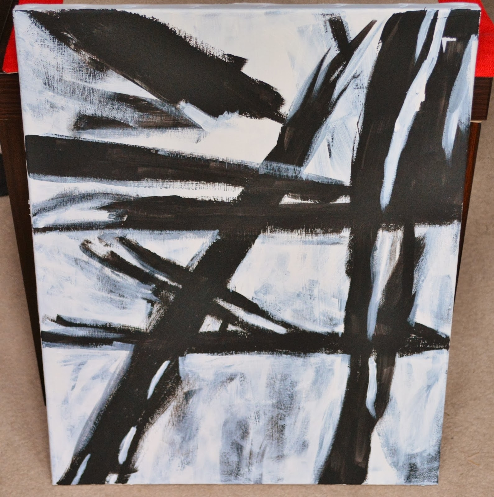 Oh Sarah O !: Diy West Elm Abstract Painting/ Franz Kline Knock Off Inside Most Recently Released West Elm Abstract Wall Art (View 15 of 20)