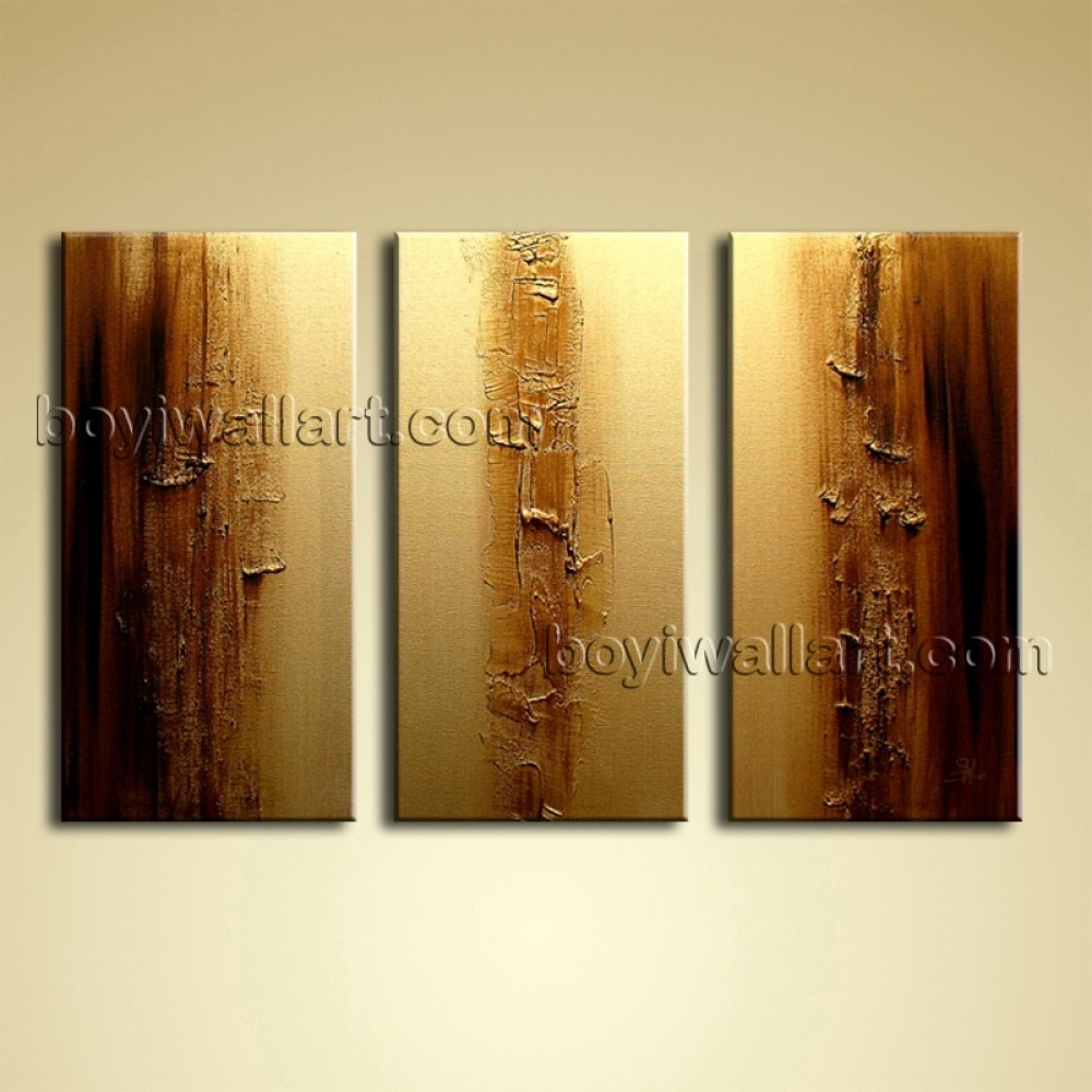 Oil Painting On Canvas 3 Pieces Gold Brown Textured Abstract Wall Art Intended For Most Recently Released Brown Abstract Wall Art (Gallery 20 of 20)