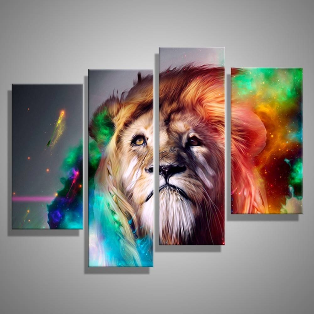 Oil Paintings Canvas Cheap Abstract Lion Colorful Animals Wall Art For Best And Newest ColorfulAnimal Wall Art (Gallery 2 of 20)