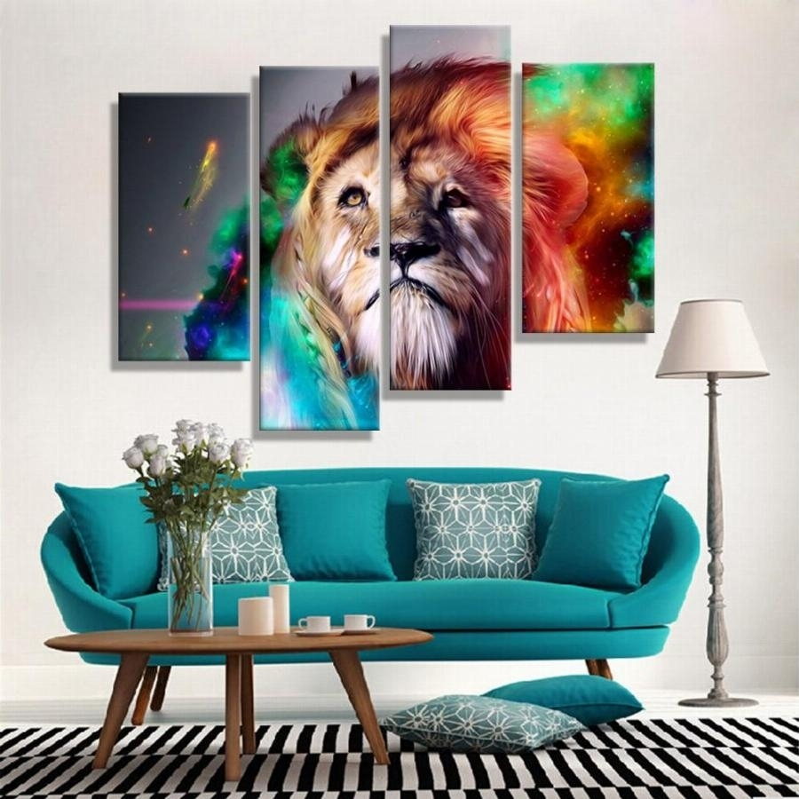 Oil Paintings Canvas Cheap Abstract Lion Colorful Animals Wall Art Regarding Most Up To Date Affordable Abstract Wall Art (View 17 of 20)