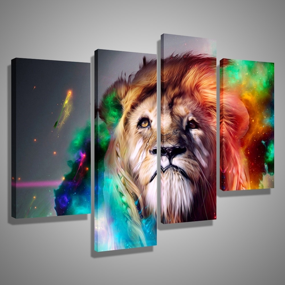 Oil Paintings Canvas Cheap Abstract Lion Colorful Animals Wall Art With Current Abstract Lion Wall Art (View 6 of 20)