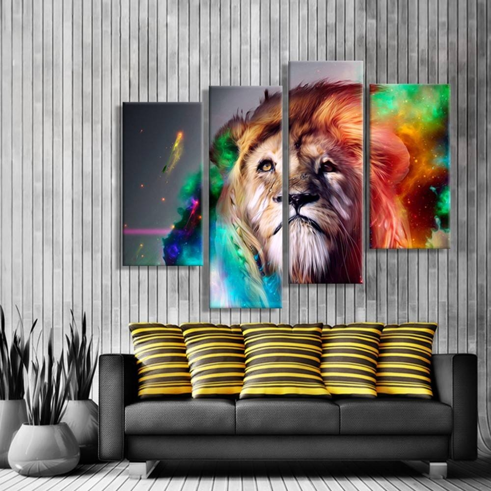 Oil Paintings Canvas Cheap Abstract Lion Colorful Animals Wall Art with regard to Most Recent ColorfulAnimal Wall Art