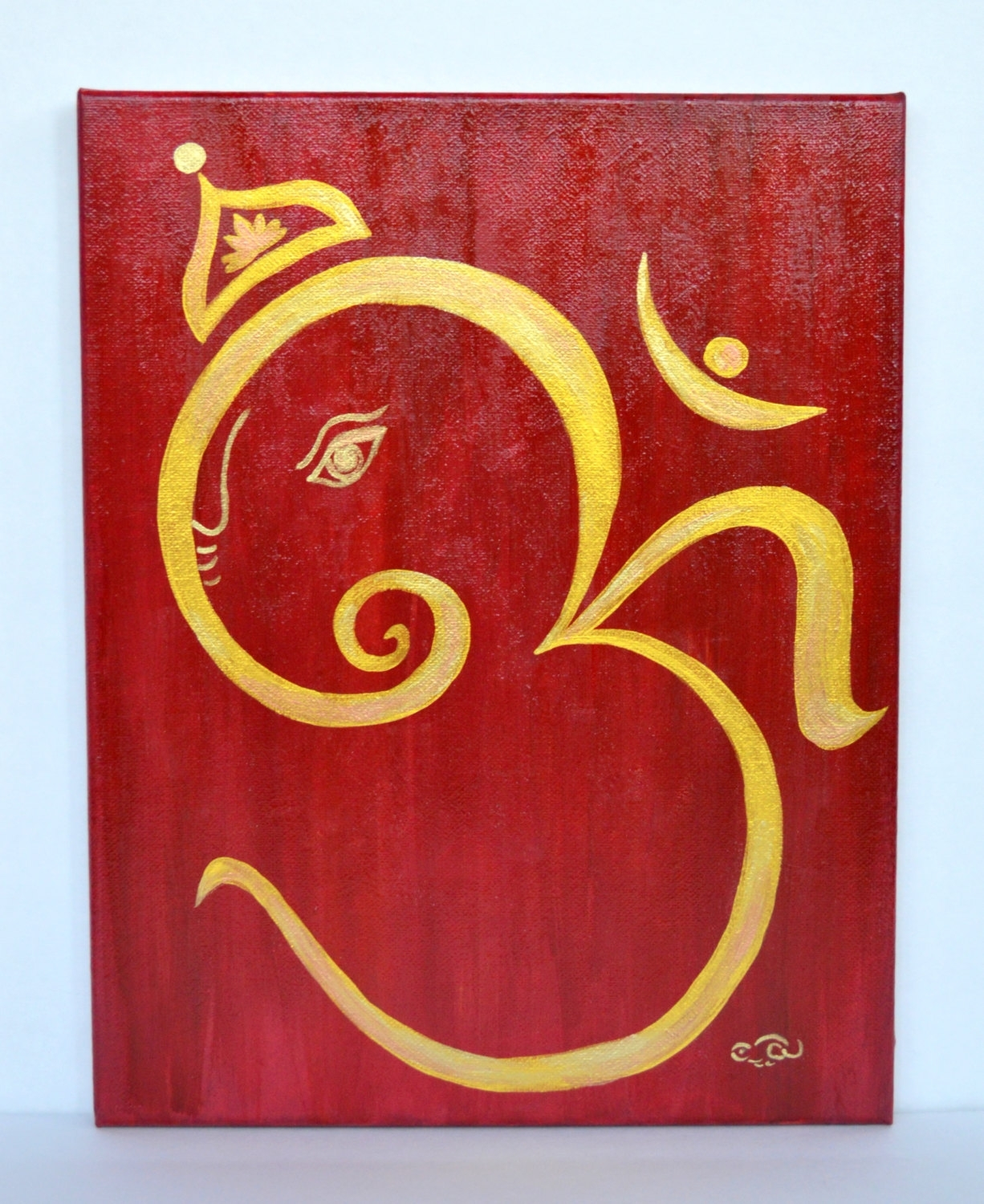Om Ganesha Acrylic Canvas Paintinganartsyappetite On Etsy For Latest Abstract Ganesha Wall Art (Gallery 15 of 20)