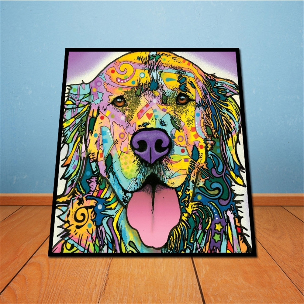 On Canvas Golden Retriever Unframed Room Decor Modern Huge Wall in Newest Abstract Dog Wall Art