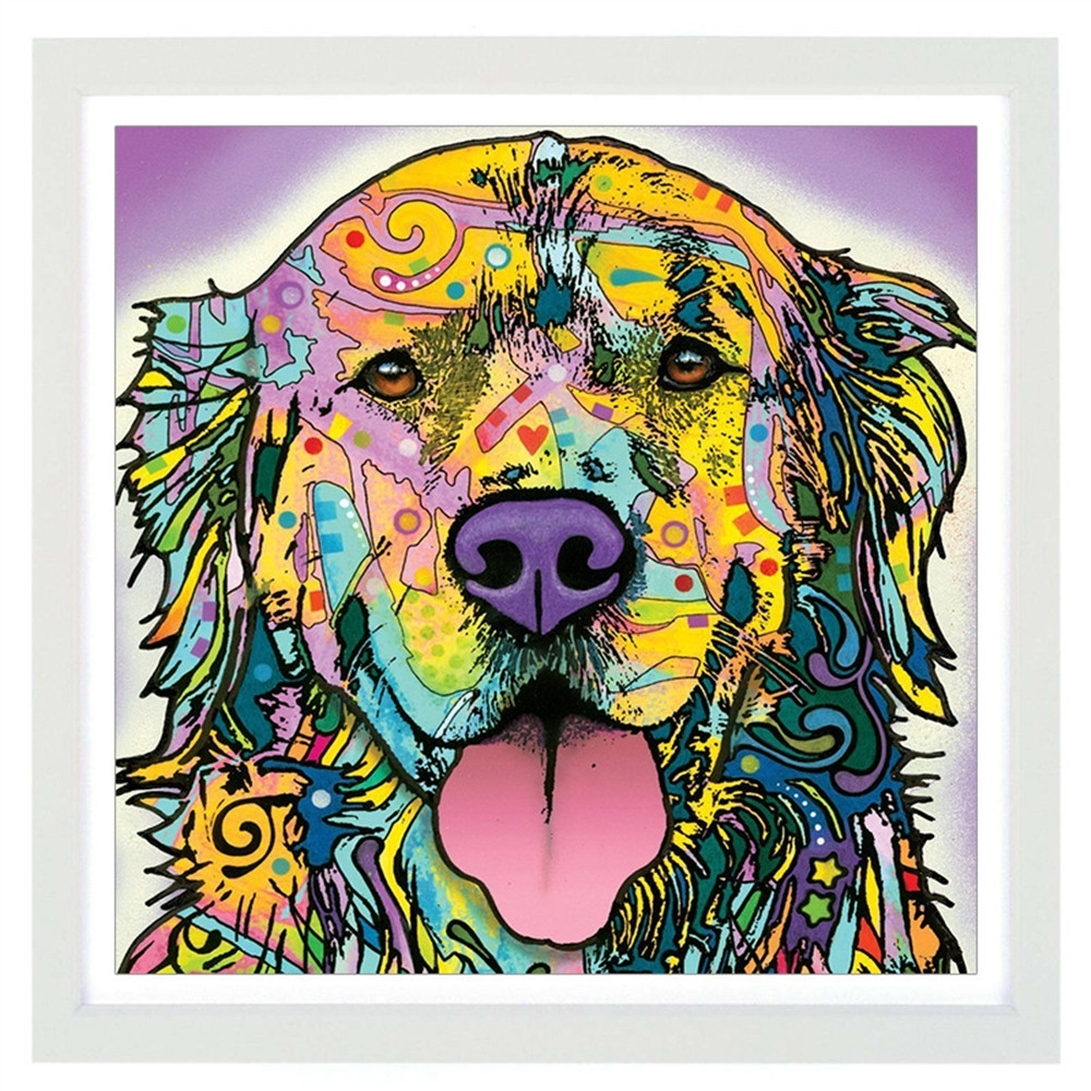 On Canvas Golden Retriever Unframed Room Decor Modern Huge Wall With Current Abstract Dog Wall Art (View 16 of 20)