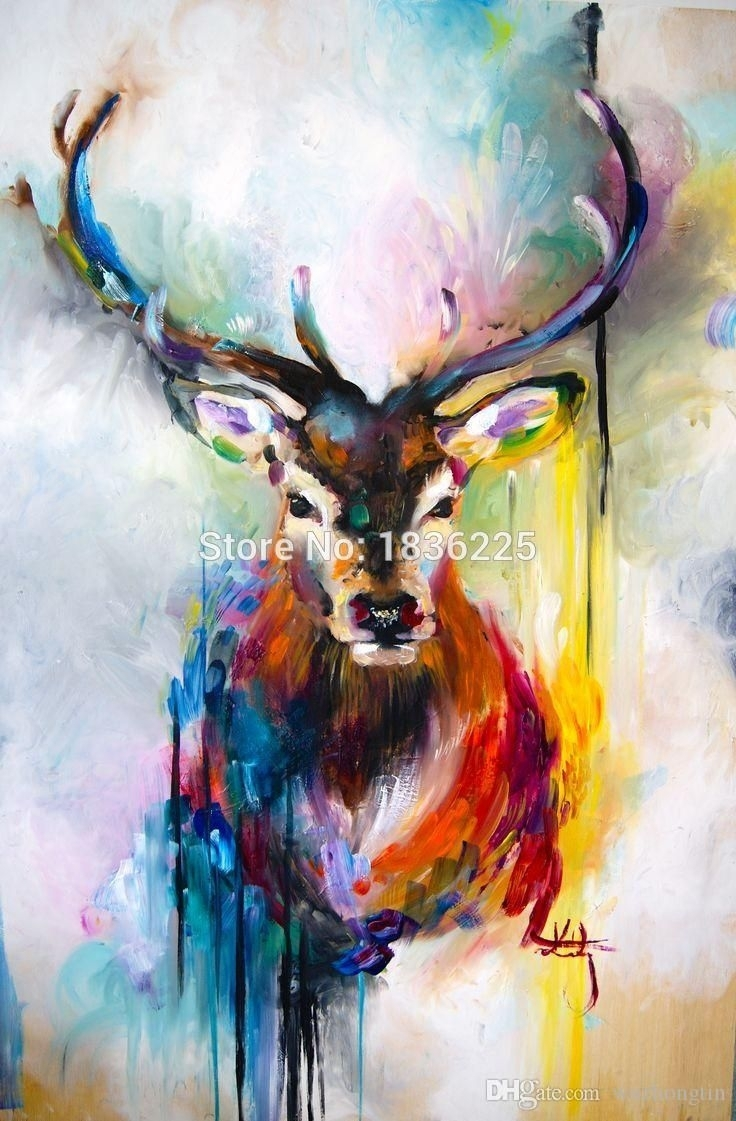 Online Cheap Colorful Bright Color Canvas Wall Art Deer Abstract pertaining to Best and Newest Bright Abstract Wall Art