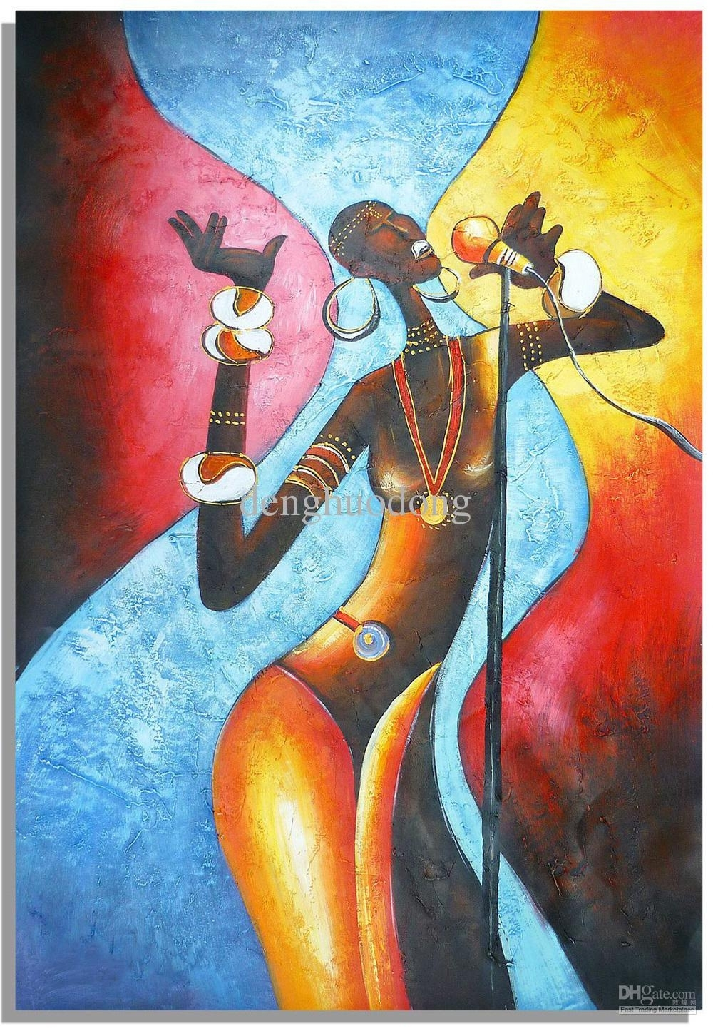 Online Cheap Hand Painted Wall Art Abstract Oil Paintings, African Pertaining To Latest Abstract African Wall Art (View 18 of 20)