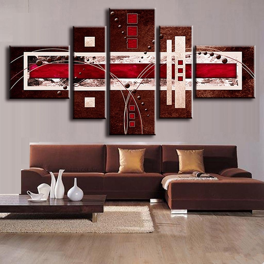 Online Shop 5 Pcs/set Combined Modern Abstract Oil Painting Brown Regarding 2018 Abstract Wall Art Canvas (View 16 of 20)