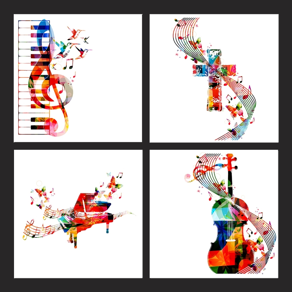 Online Shop Colorful Music Notes Canvas Art Print Wall Pictures for Most Current Abstract Musical Notes Piano Jazz Wall Artwork
