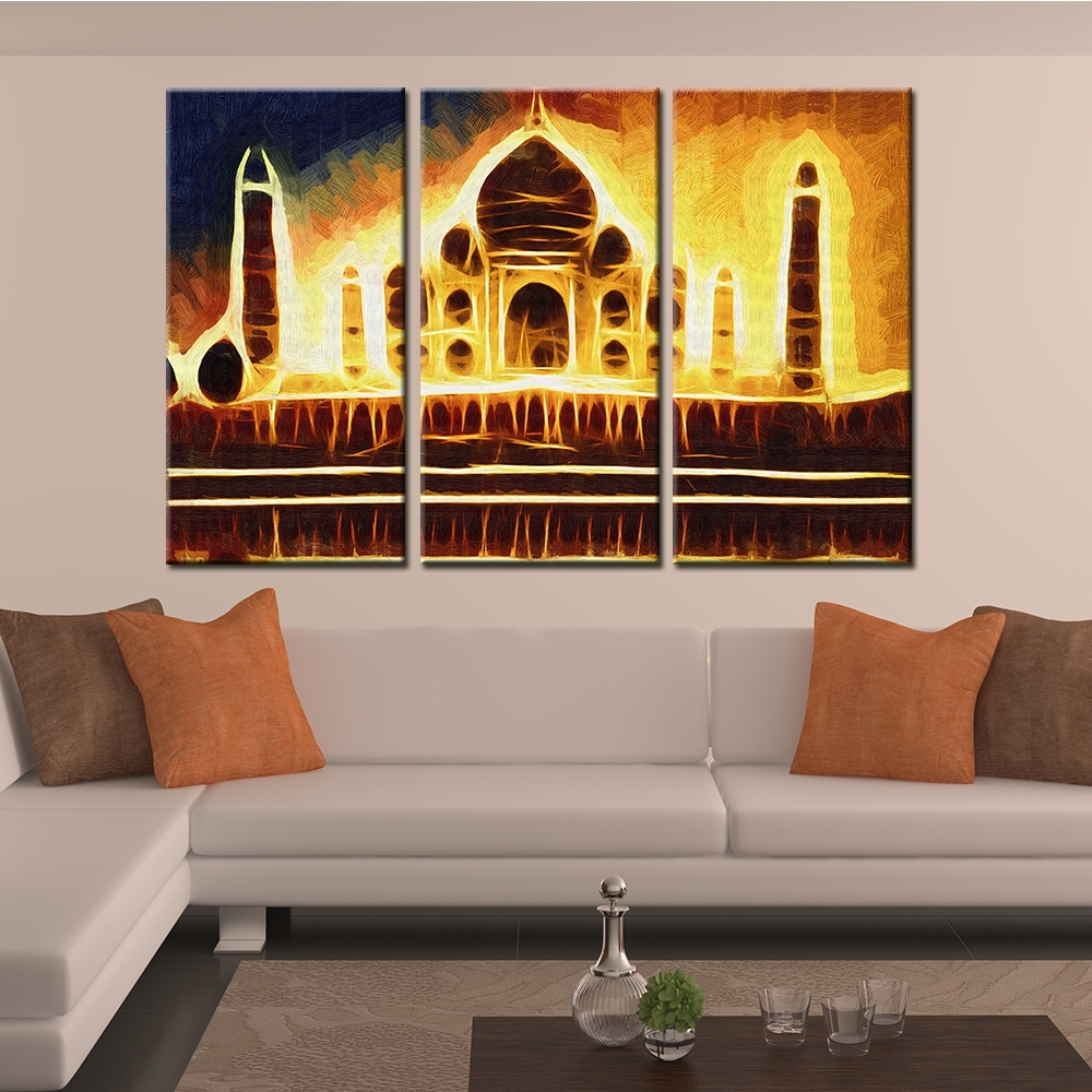 Online Shop Drop Shipping 3 Pieces Print Abstract India Taj Mahal With 2017 India Abstract Wall Art (Gallery 8 of 20)