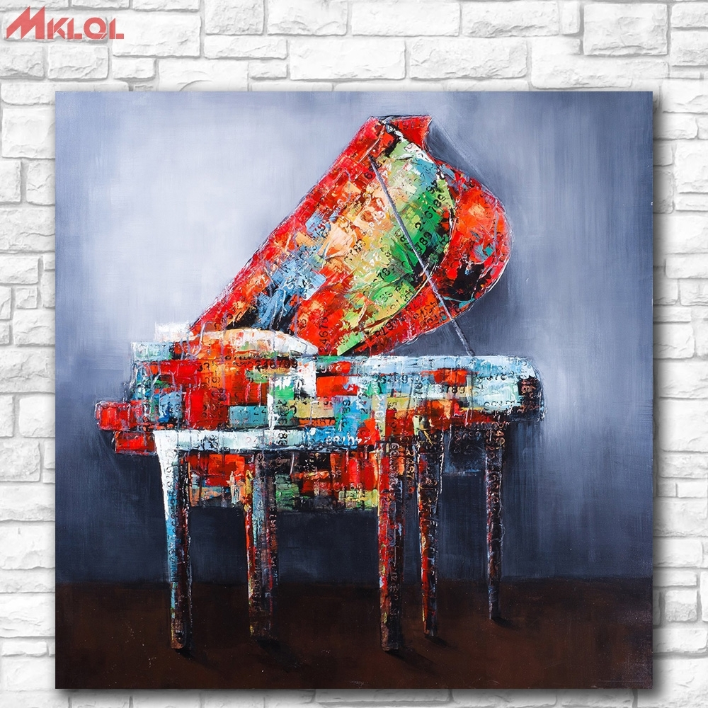 Online Shop Huge Pop Art Piano Oil Painting Wall Art Paiting With Regard To Most Recently Released Abstract Piano Wall Art (View 18 of 20)