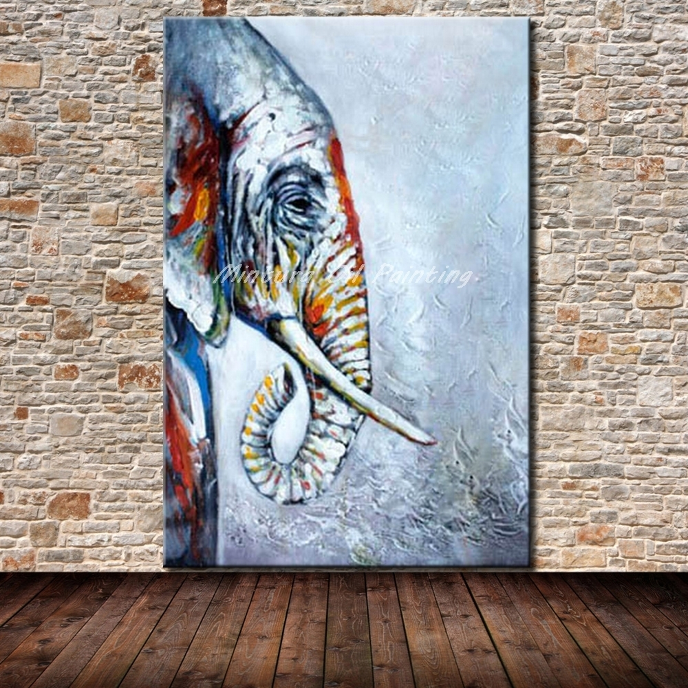 Online Shop Mintura Frameless Paintings Picture Handpainted Animal For Recent Abstract Elephant Wall Art (Gallery 20 of 20)