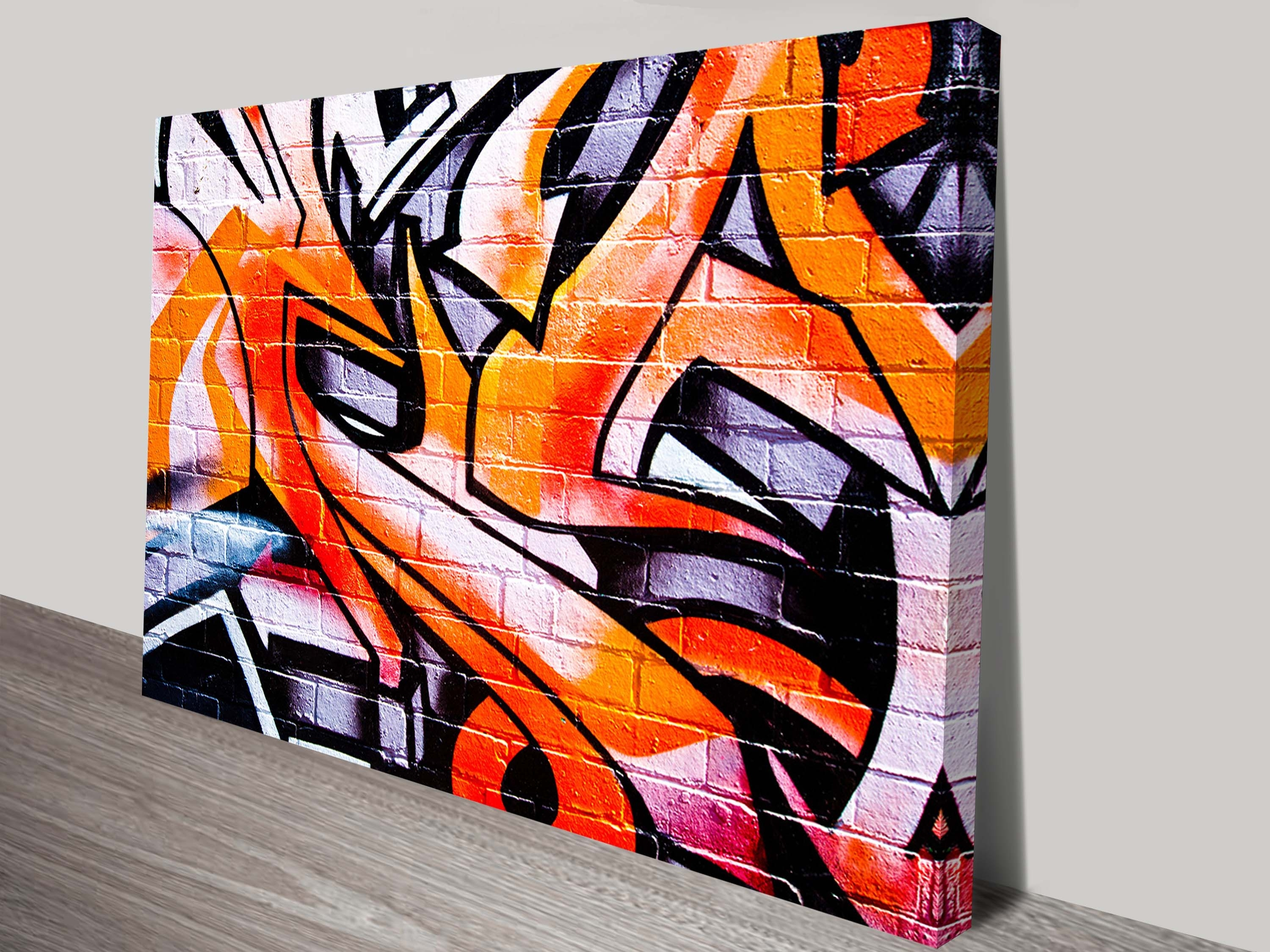 Orange Abstract Street Art Canvas | Framed Graffiti Artwork Australia Within Latest Abstract Graffiti Wall Art (View 1 of 20)