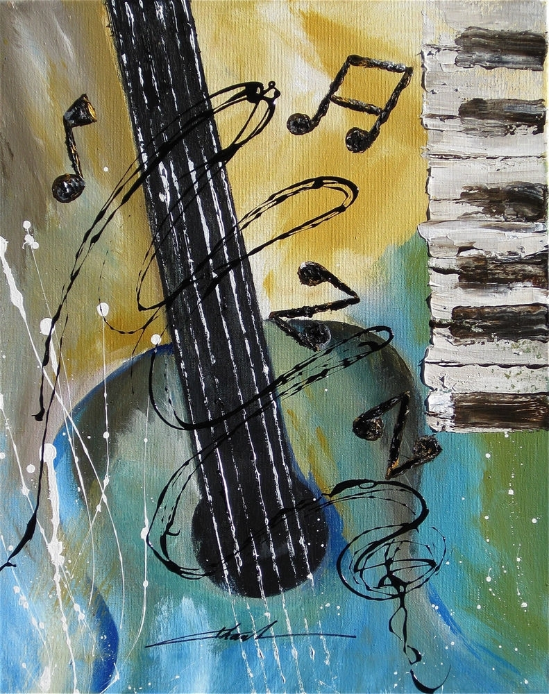 Orginal Art Absrtact Painting Jazz Guitar Piano Music Notes  By Intended For Most Recently Released Abstract Musical Notes Piano Jazz Wall Artwork (View 12 of 20)