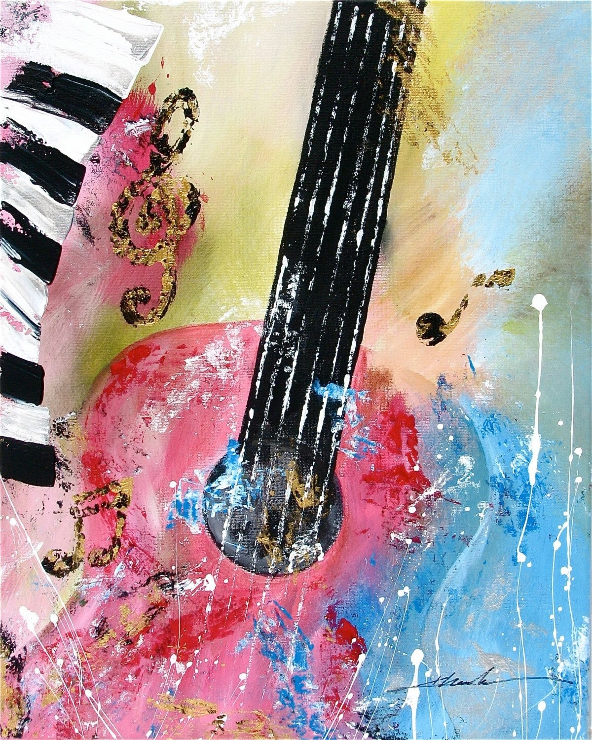 Original Abstract Art Guitar Music Noteskhanhha | Originals Pertaining To Current Abstract Musical Notes Piano Jazz Wall Artwork (View 13 of 20)
