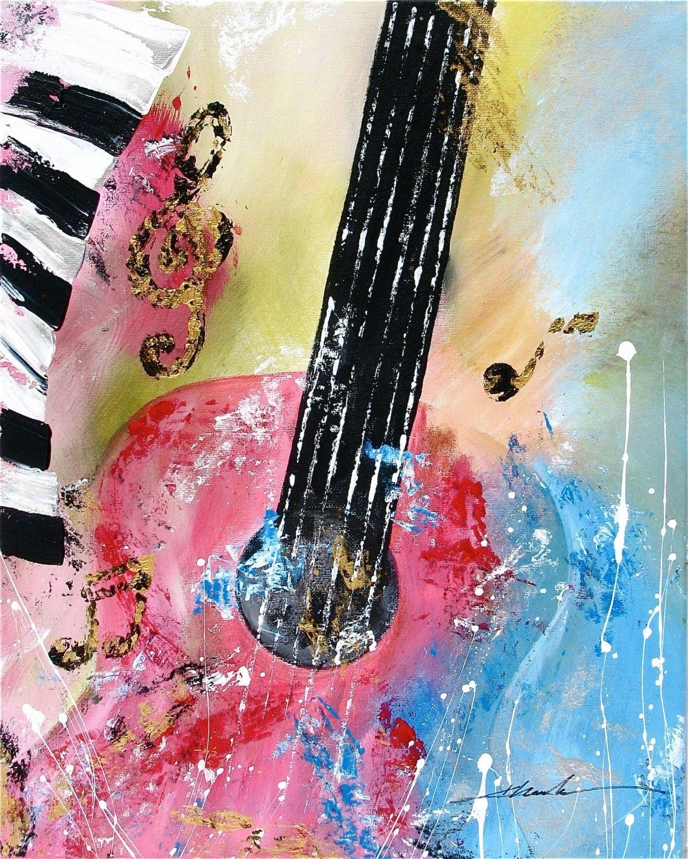 Original Abstract Art Guitar Music Noteskhanhha | Originals Pertaining To Current Abstract Musical Notes Piano Jazz Wall Artwork (View 19 of 20)