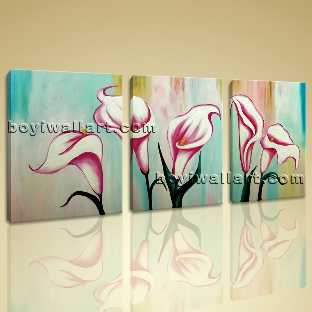 Original Abstract Floral Painting Print Lily Flower On Canvas Wall Art Regarding Latest Abstract Floral Canvas Wall Art (View 20 of 20)