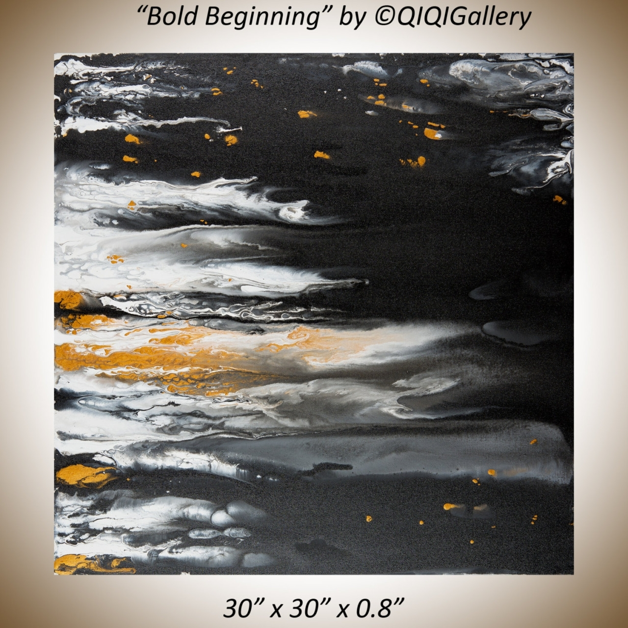 Original Abstract Free Flow Acrylic Painting Black Gold White for Best and Newest Bold Abstract Wall Art