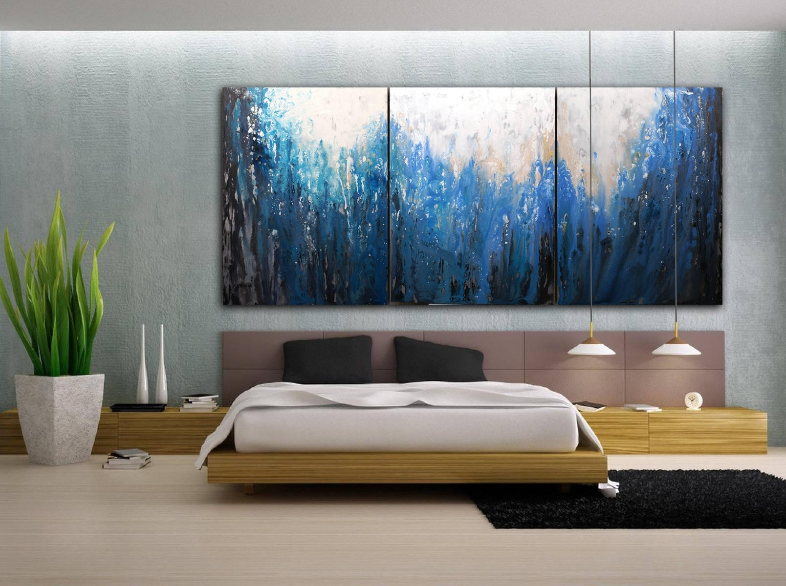 Original Abstract Painting Custom Xlarge Canvas Art Indigo With Most Recently Released Original Abstract Wall Art (View 20 of 20)