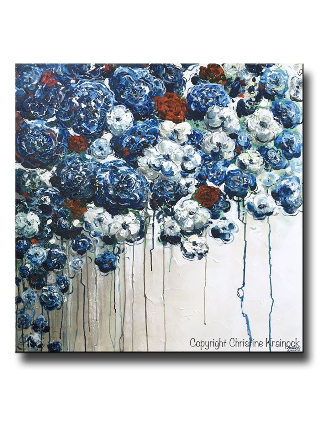 Original Art Abstract Blue Flowers Painting Textured Red White Throughout Most Popular Blue Canvas Abstract Wall Art (Gallery 16 of 20)
