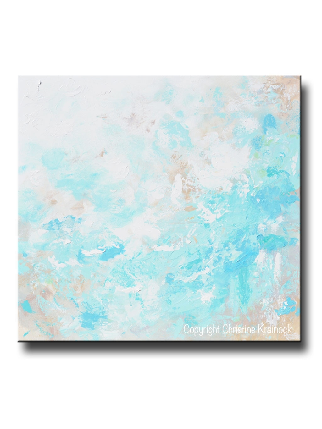 Original Art Blue Abstract Painting Textured Coastal Beach Artwork for Best and Newest Aqua Abstract Wall Art