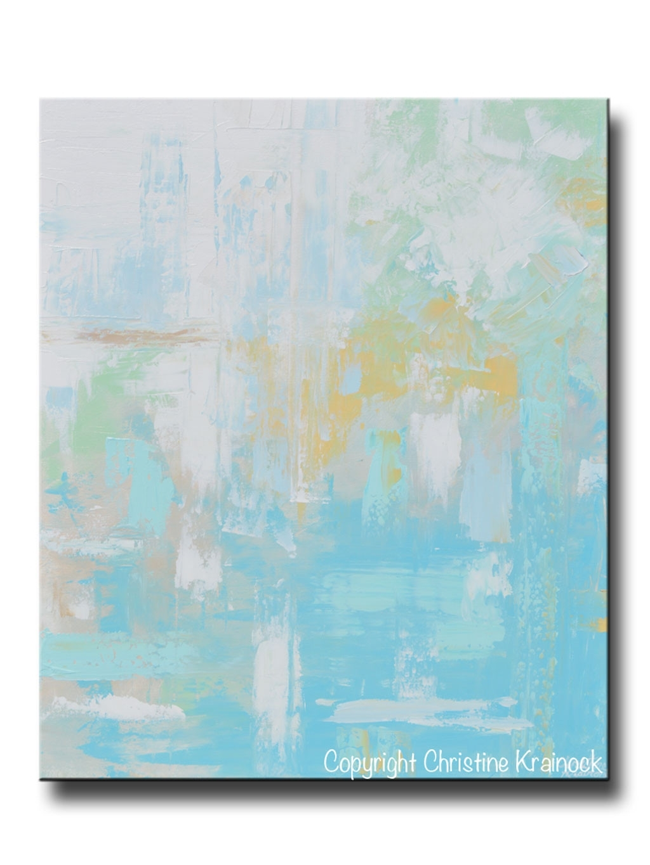 Original Art Light Blue Abstract Painting Aqua Blue Green Yellow with 2018 Aqua Abstract Wall Art